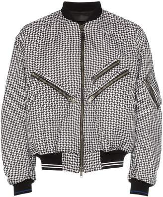 Haider Ackermann houndstooth multi pocket zipper bomber jacket