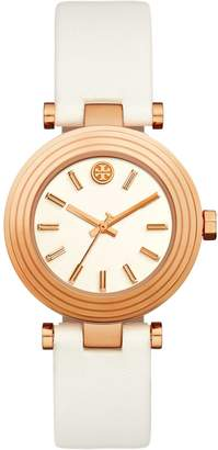 Tory Burch CLASSIC T WATCH, IVORY LEATHER/ROSE-GOLD TONE, 36 X 45MM