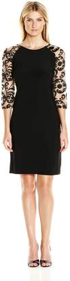 Chetta B Women's 3/4 Embroidered Sleeve Cocktail Dress Black/Nude 4