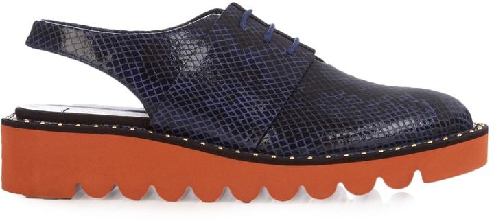 STELLA MCCARTNEY Odette lace-up snake-effect slingback shoes