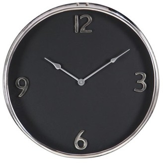 DecMode Decmode Contemporary 18 Inch Black Stainless Steel And Aluminum Round Wall Clock