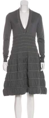 Alaà ̄a Virgin Wool Fit & Flare Dress Grey Alaà ̄a Virgin Wool Fit & Flare Dress