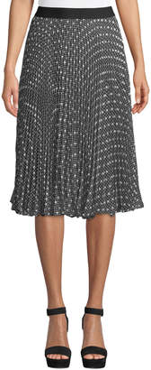 Max Studio Clip-Dot Embroidered Midi Skirt