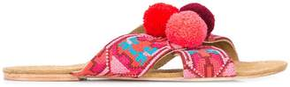 Figue embroidered pom pom sandals