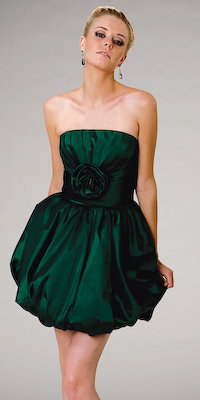 Blue Moon Strapless Mini Emerald Green Dress by Interlude