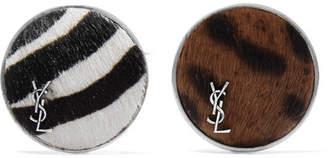 Saint Laurent Set Of Two Silver-tone Calf Hair Brooches - Black