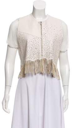 Hache Perforated Leather Jacket w/ Tags Cream Perforated Leather Jacket w/ Tags