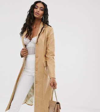 UNIQUE21 longline jacket in vintage faux leather