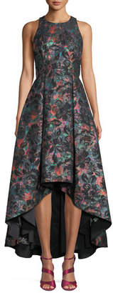 Aidan Mattox Sleeveless Jewel-Neck Floral-Jacquard High-Low Formal Gown Dress