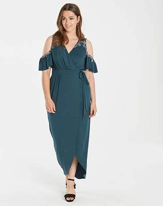 688ee3fcbc60 Little Mistress Embellished Cold Shoulder Wrap Dress