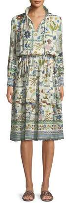 Tory Burch Waverly Meadow Floral Long-Sleeve Shirt Dress