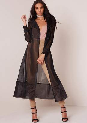 Missy Empire Missyempire Kacey Black Mesh Trench Coat