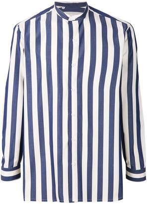 Salvatore Piccolo mandarin neck striped shirt