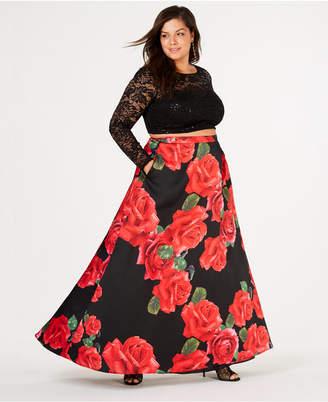 4ae3f08b4b956 B. Darlin Trendy Plus Size 2-Pc. Floral-Print Gown