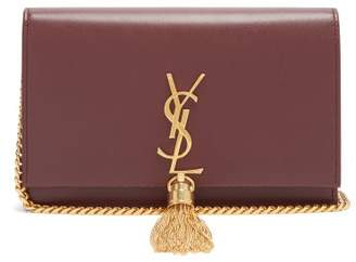 Saint Laurent Kate Monogram Leather Cross Body Bag - Womens - Burgundy