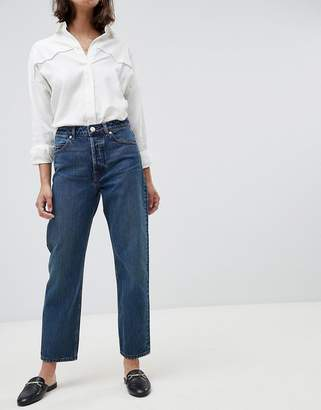 Asos DESIGN Recycled Florence authentic straight leg jeans in dark stonewash blue with contrast red stitch