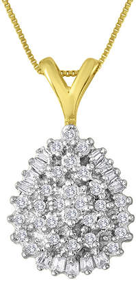 FINE JEWELRY 1/4 CT. T.W. Diamond 10K Yellow Gold Pear-Shaped Cluster Pendant Necklace