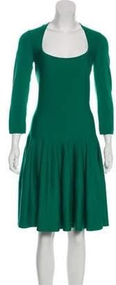 Alexander McQueen Wool Knee-Length Dress Green Wool Knee-Length Dress