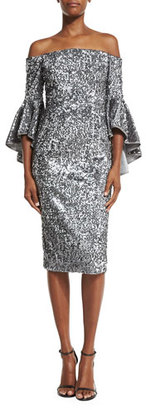 Milly Off-the-Shoulder Sequined Cocktail Dress, Gunmetal $675 thestylecure.com
