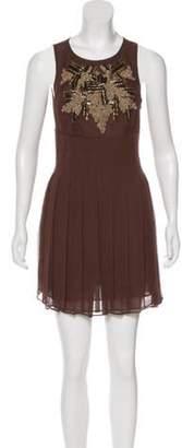 Alice + Olivia Silk Sleeveless Dress Brown Silk Sleeveless Dress