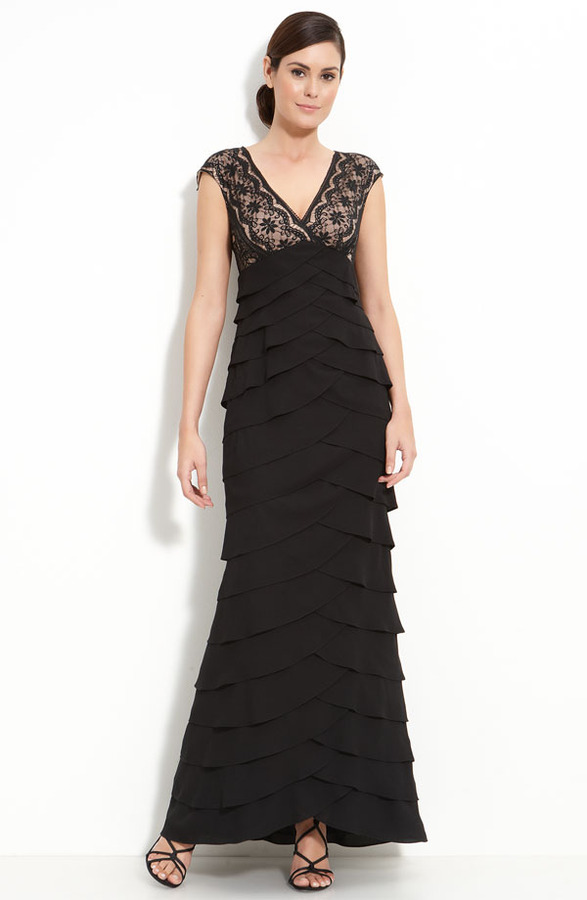 Adrianna Papell Lace & Chiffon Gown