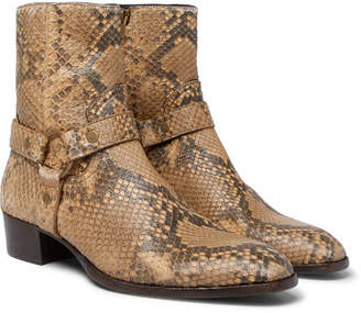 Saint Laurent Wyatt Python Harness Boots - Brown