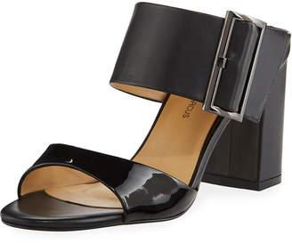 Neiman Marcus Brette Chunky-Heel Leather Slide Sandals, Black