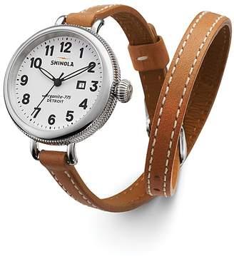 Shinola The Birdy Double Wrap Strap Watch, 34mm