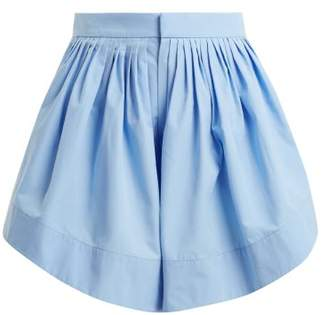 8a92e42c1898 Chloé Pleated Cotton Shorts - Womens - Blue