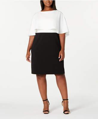 Calvin Klein Trendy Plus Size Colorblocked Popover Dress