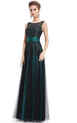 Ever-Pretty Ever Pretty Womens Illusion Neckline Sequins Long Evening Dress US