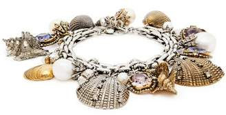 Alexander McQueen Crystal And Faux Peal Shell Charm Bracelet - Womens - Silver