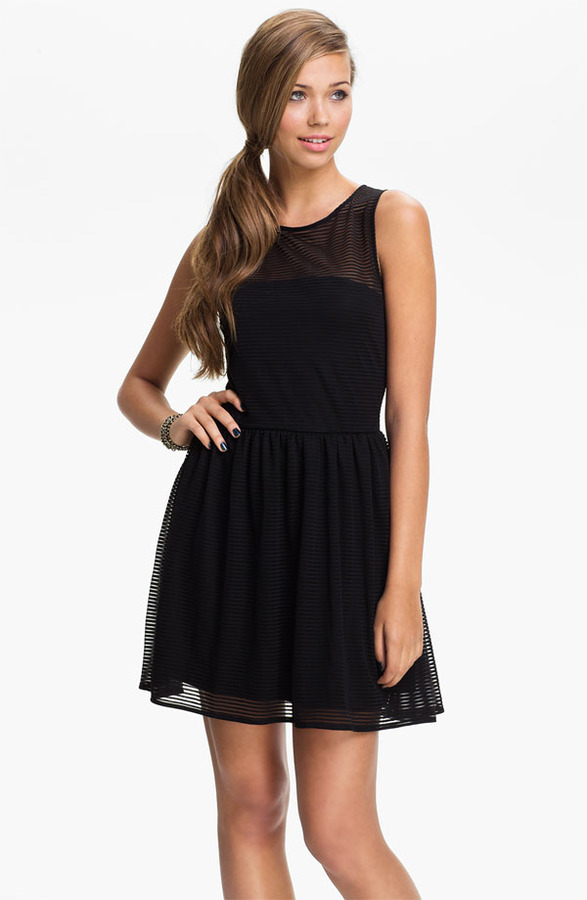 Frenchi Sheer Stripe Dress (Juniors)