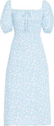 Faithfull The Brand Majorelle Floral-Print Crepe Midi Dress Size: XS