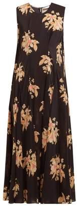 Raey Darted Vintage Floral Print Silk Dress - Womens - Black Print