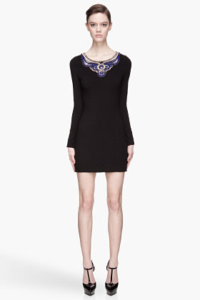 Matthew Williamson Black and gold Embroidered Yoke Maharaja Mirror Mini Dress