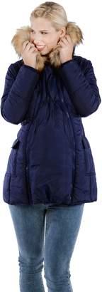 Modern Eternity 3 In 1 Fur Trimmed Hood Mid Thigh Maternity Coat