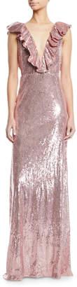 Monique Lhuillier Ruffle V-Neck Sleeveless Sequin Column Evening Gown