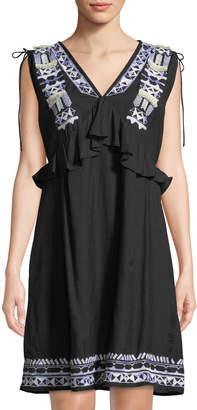Catherine Malandrino V-Neck Drawstring-Shoulders Sleeveless Embroidered Shift Cotton Dress
