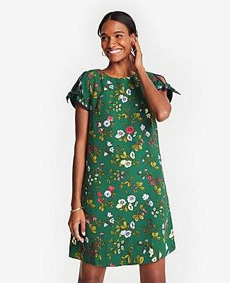 Ann Taylor Floral Tie Sleeve Shift Dress
