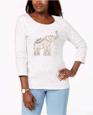 Karen Scott Cotton Embellished-Elephant Top