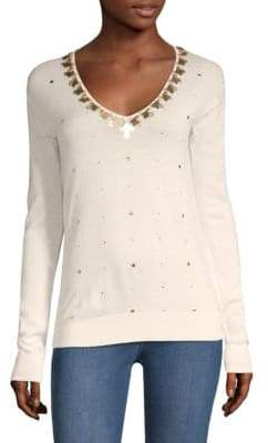St. John Embellished V-Neck Knit Sweater