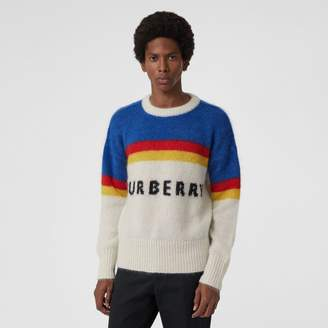 Burberry Striped Logo Intarsia Mohair Wool Blend Sweater