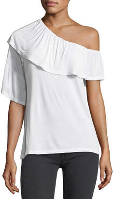 Paige Pax One-Shoulder Ruffle Jersey Top