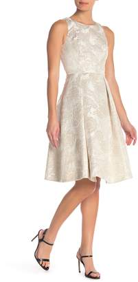 Eliza J Embroidered Metallic Sleeveless Dress