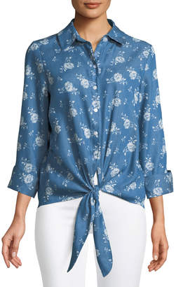 Neiman Marcus Chambray Rose Tie-Front Blouse