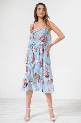 Urban Touch Bluefloral Pleated Camimididress