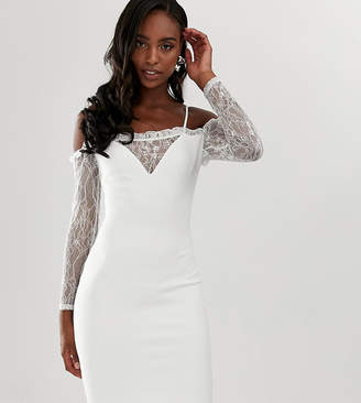 John Zack Tall square neck bodycon dress with lace sleeve in white