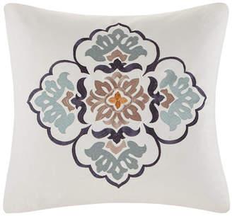 "Echo Paisley Shawl 20""x20"" Embroidered Cotton Square Decorative Pillow"
