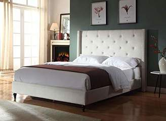 """BEIGE LIFE Home Premiere Classics Cloth Light Cream Linen 51"""" Tall Headboard Platform Bed with Slats King - Complete Bed 5 Year Warranty Included"""